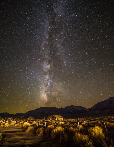 Milky Way over shacks