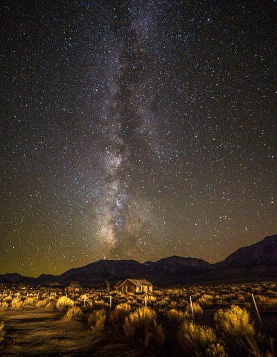 Milky Way over shacks